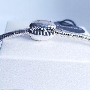 Pandora Sparkling Coffee Bean Shell Charm Silver